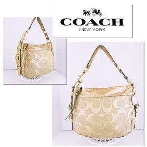 🎁🎄Coach Leather & Signature Jacquard Lg Hobo Bag